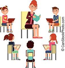 around., concept, séance, vecteur, enfants, livre, gosses, lecture, education, prof