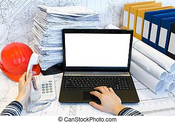 around., dokumente, hörer, druck, telefon., halten hände, mann, loaptop