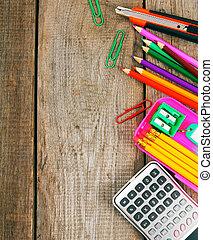 around., escuela, school., de madera, espalda, fondo., herramientas