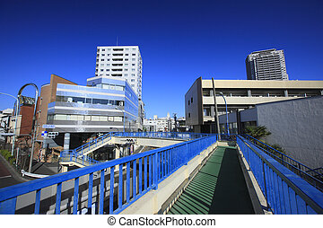 Around footbridge in front of Daikanyama police box
