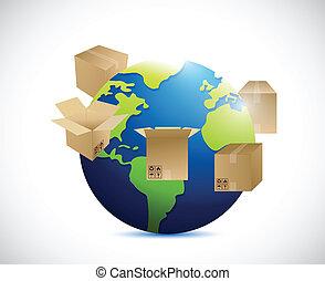 around., forsendelse, klode, bokse, illustration