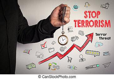 around., fundo, corrente, relógio, concept., ícones, parada, seta, segurando, terrorismo, branco vermelho, homem