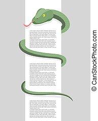 around., rettile, spazio, serpente, text., involvere, involucri, vettore, intorno, segno., vuoto, illustration.