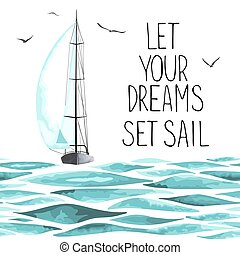 around., segelbåt, seagulls, hav