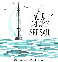around., segelboot, möwen, meer