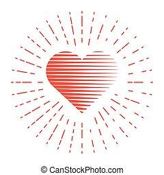 around., serce, kwestia, ilustracja, wektor, czerwony
