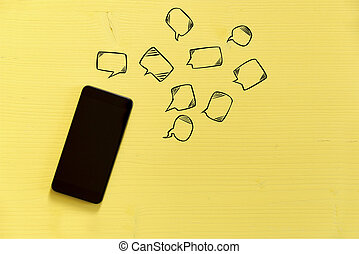 around., smartphone, bakgrund, text, texting, gul, anslutning, begrepp, messaging, bubblar