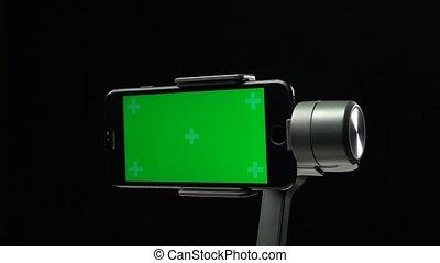 around., smartphone, gimbal, ekran, przędzenie, zielony,...