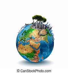 Around th world - Earth planet image with buildings on...