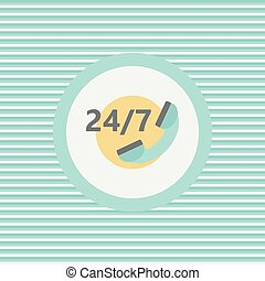 Around the clock, seven days a week color flat icon