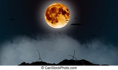 Around the moon the blue thunderstorm brightly flickers and the bats fly. Smoky background