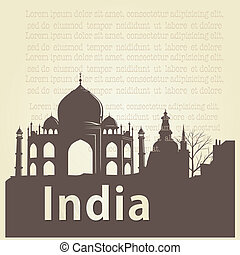 around the world - a brown silhouette of taj mahal and some...
