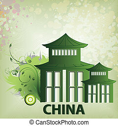 around the world - a green chinese silhouette of a building...