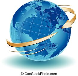 Around the World - an arrow turning around the world