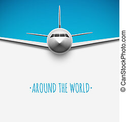 Around the world - Background with airplane, around the...