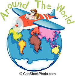 Around the world by airplane