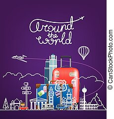Around the world concept. Vector illustration with famous sights and travel accessories
