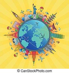 Around the World - flat design travel composition - Around...
