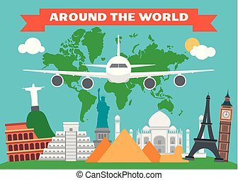 Around the world flat design with map land