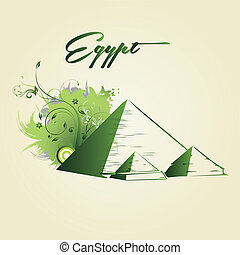 around the world - green silhouettes of pyramids with some...