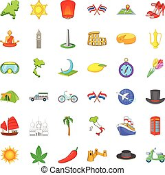 Around the world icons set, cartoon style