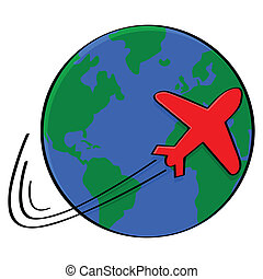 Illustration showing the outline of an airplane going around the world