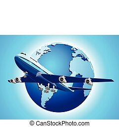 Around The World - An airplane and earth illustration