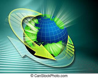 Information streams going around the globe. Digital illustration
