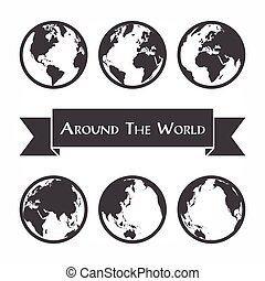 Around the world ( outline of world map )