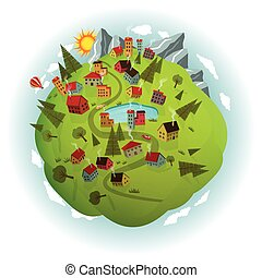 Around the world (summer scenery) - Vector illustration of...