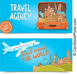 Around the world travel agency horizontal banners
