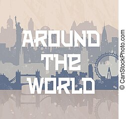 Around the World Travel Background, cities New York, London, Stockholm