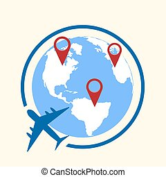 Around the world travelling by plane concept, travel pin location on a global map. Flat design Vector