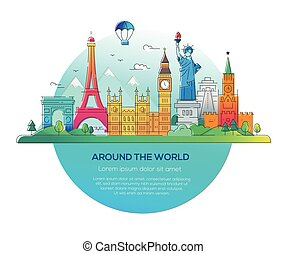 Around the world - vector line travel illustration