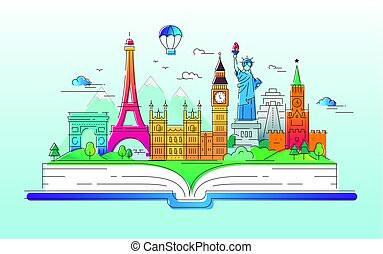 Around the world - vector line travel illustration - Around...