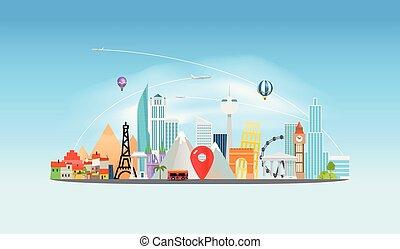 Around the wotld concept. Travel destination vector...