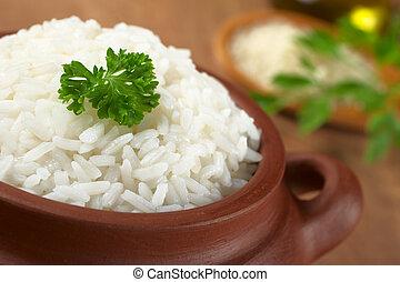 around), tigela, salsa, foco, rústico, cozinhado, foco, (selective, arroz branco, garnished