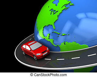 around world - abstract 3d illustration of road around earth...