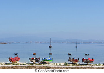 Arousa Island boats on the beach Bao Norte, Pontevedra province, Galicia, Spain