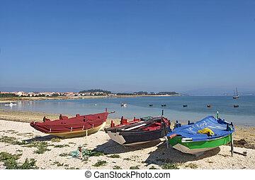 Arousa Island boats on the beach Praia Boa Norte, Pontevedra province, Galicia, Spain