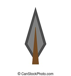 Arowhead bow flat vector shape element archery. Tribal weapon icon retro