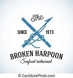 arpão, restaurante, vindima, marisco, tipografia, abstratos, etiqueta, quebrada, vetorial, retro, modelo, logotipo, ou