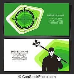 arpenteur, examiner, carte, business, instrument