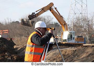 arpenteur, grue, site construction, fond