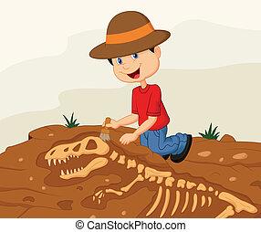 arqueólogo, niño, caricatura, excavat