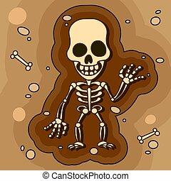 arqueólogos, camada, pá, fóssil, trabalhando, artefatos, solo, paleontologists, escavação, caricatura, ou, explorar, vetorial, human, ossos, estudo, found., esqueletos, escavações