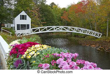arqueado, blanco, puente de madera