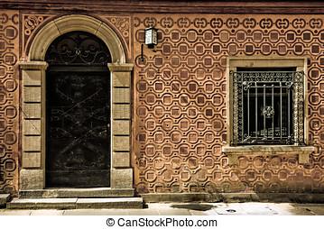 arqueado, porta, e, janela