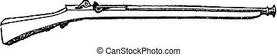 Arquebus ancient firearm old engraving. Old engraved illustration of the Arquebus, isolated against a white background.