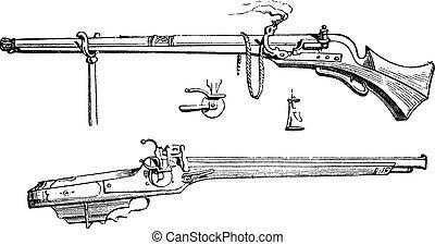 Arquebus or Hook tube vintage engraving